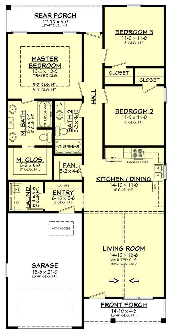 Farmhouse Style House Plan 3 Beds 2 Baths 1292 Sq Ft Plan 430 206 Narrow Lot House Plans Farmhouse Style House Plans Farmhouse Style House