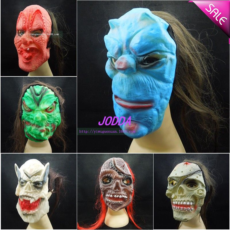 Click to Buy << Halloween Grimace Party Mask Long Hair Ghost Face ...