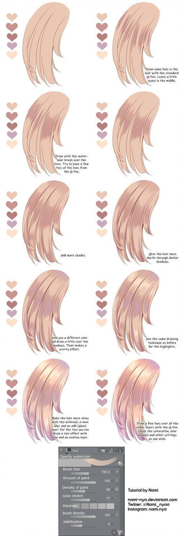 Hair Coloring Mini Tutorial Digital Painting Tutorials Digital Art Tutorial Anime Drawings Tutorials