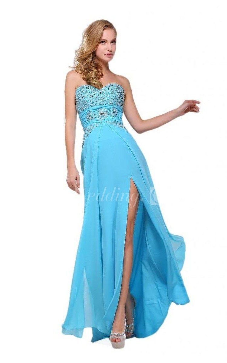 Sweetheart Chiffon Long Blue Prom Dress With Slit and Beadings. #sequin #long #blue #DorisWedding.com