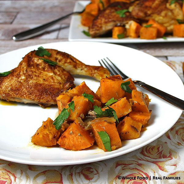 Warm spiced roast chicken over sweet potatoes recipe eat clean roast chicken over sweet potatoes with curry and paprika called a culinary hug warmly spiced flavorful and everything cooks on one baking sheet forumfinder Image collections