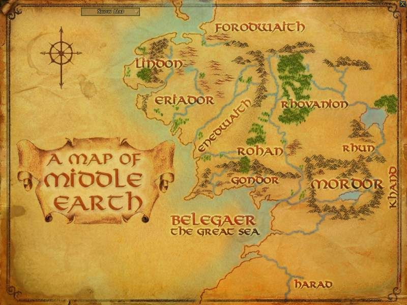 imaginary land map of middle earth tolkien