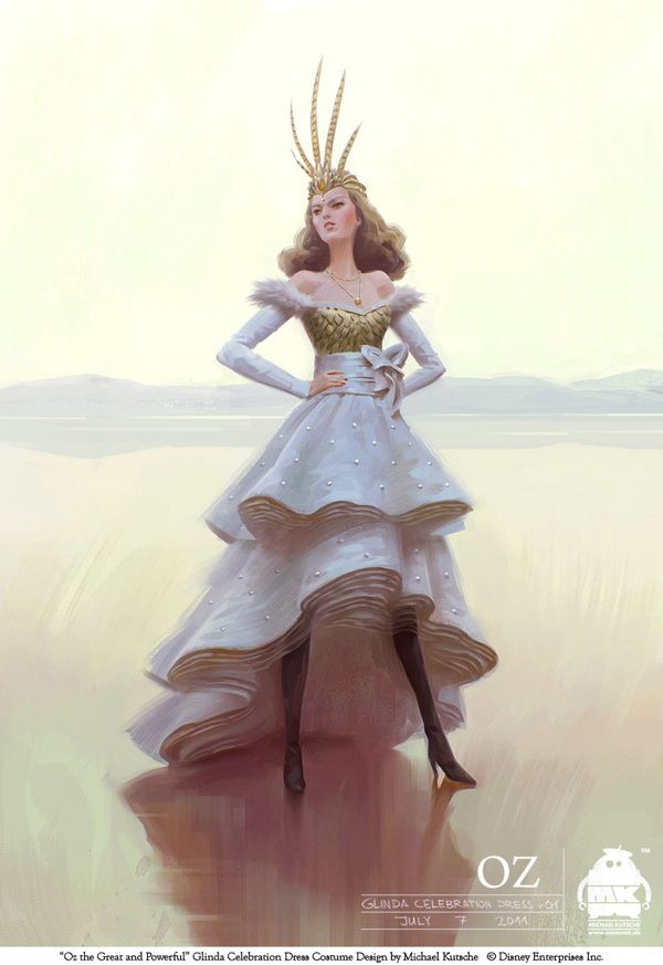 I love the idea of putting bling/buttons on the skirt. (Oz the Great and Powerful - Costume/Character Design by Michael Kutsche, via Behance)