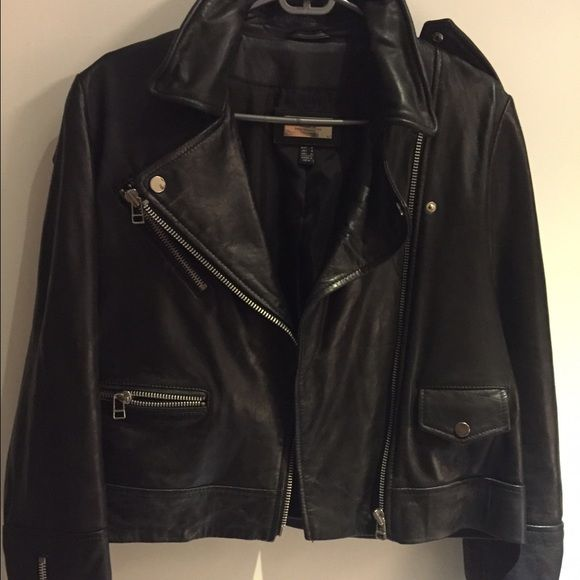 Mango Genuine Leather Biker Jacket Genuine Leather Size S 4 6