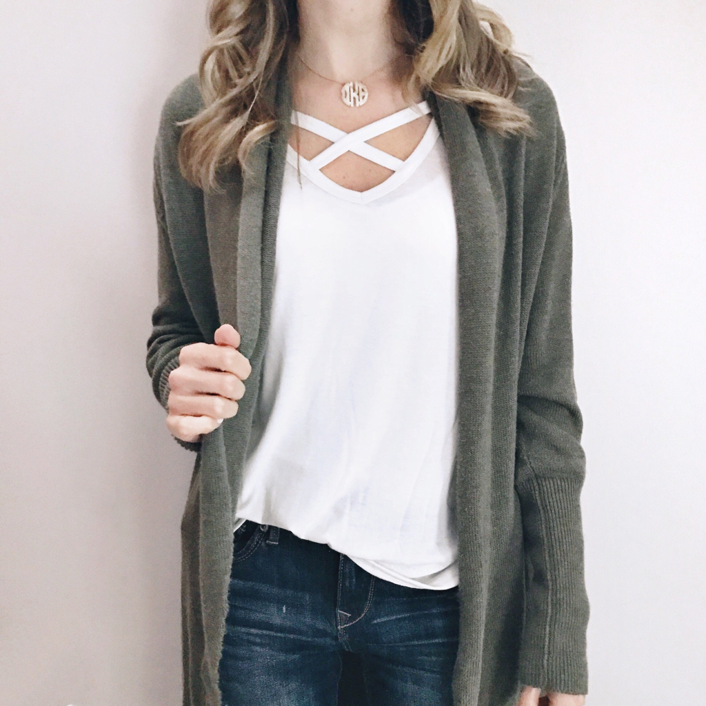 c18435d425 click through for details - long sleeve tee and olive green cardigan
