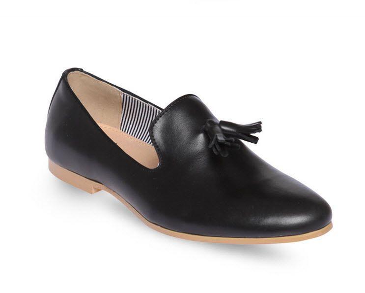 Elegante Plain Toe Wholecut Tassel Loafers Slip On Mens