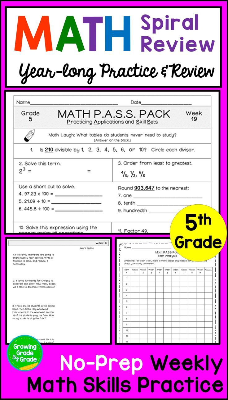 5th Grade Math Spiral Review BUNDLE | Word problems, Math and ...