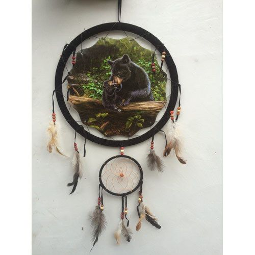 Black Bear Dream Catcher Western Mountain Decor Feather Wall Hanging Decoration