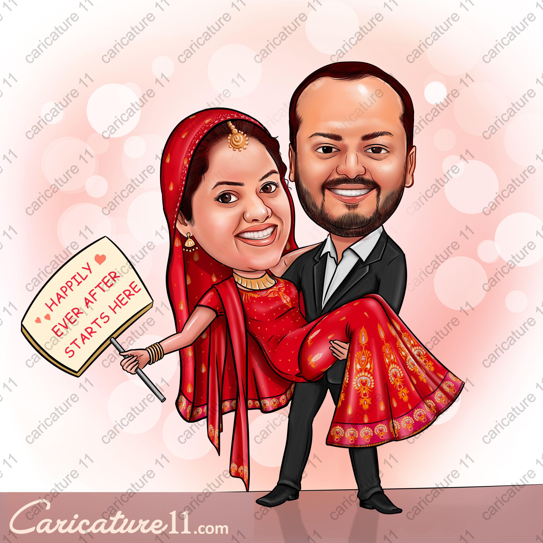 WEDDING CARICATURE , WEDDING PLAN , IDEAS PUNJAB WEDDING COUPLE ...