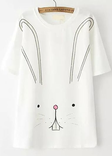 White Short Sleeve Rabbit Print T-Shirt - Sheinside.com