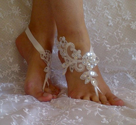 Lace ivory barefoot silver sequins finished by SummerFeetS on Etsy ... f9df630222573