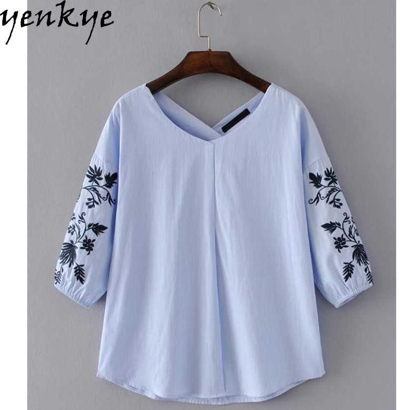 Womens Floral Embroidery V Neck Half Sleeve Shirt Tops Summer Tops