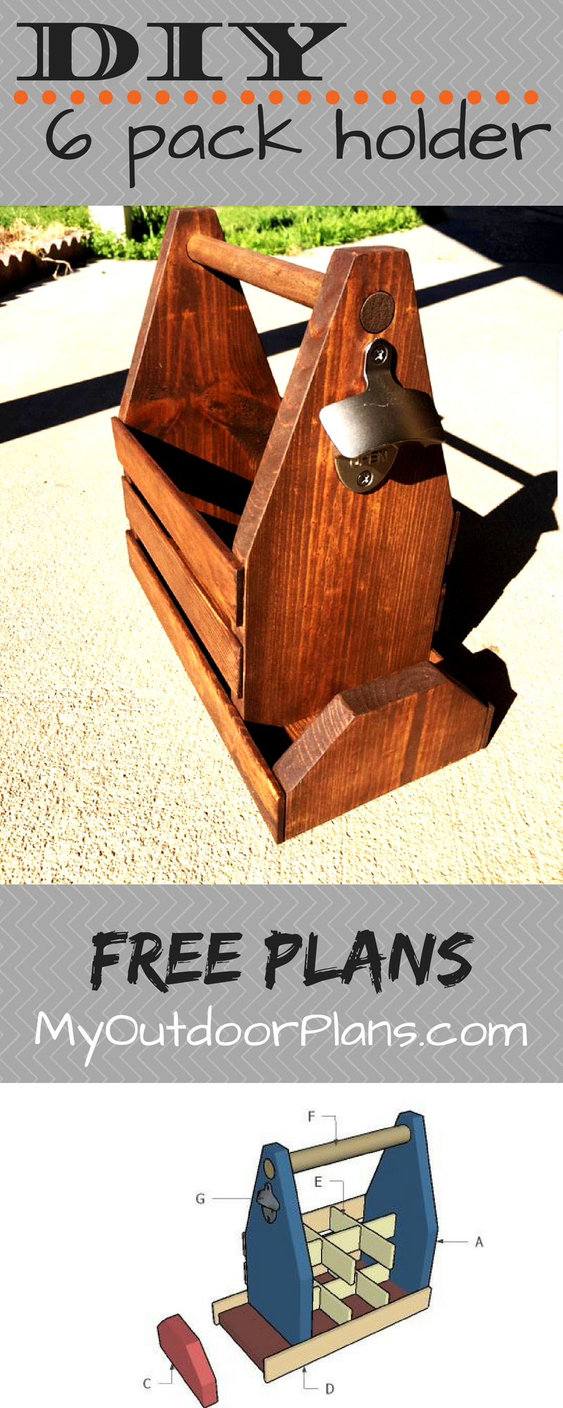 Free Plans For Building A 6 Pack Beer Holder With Opener And Cap