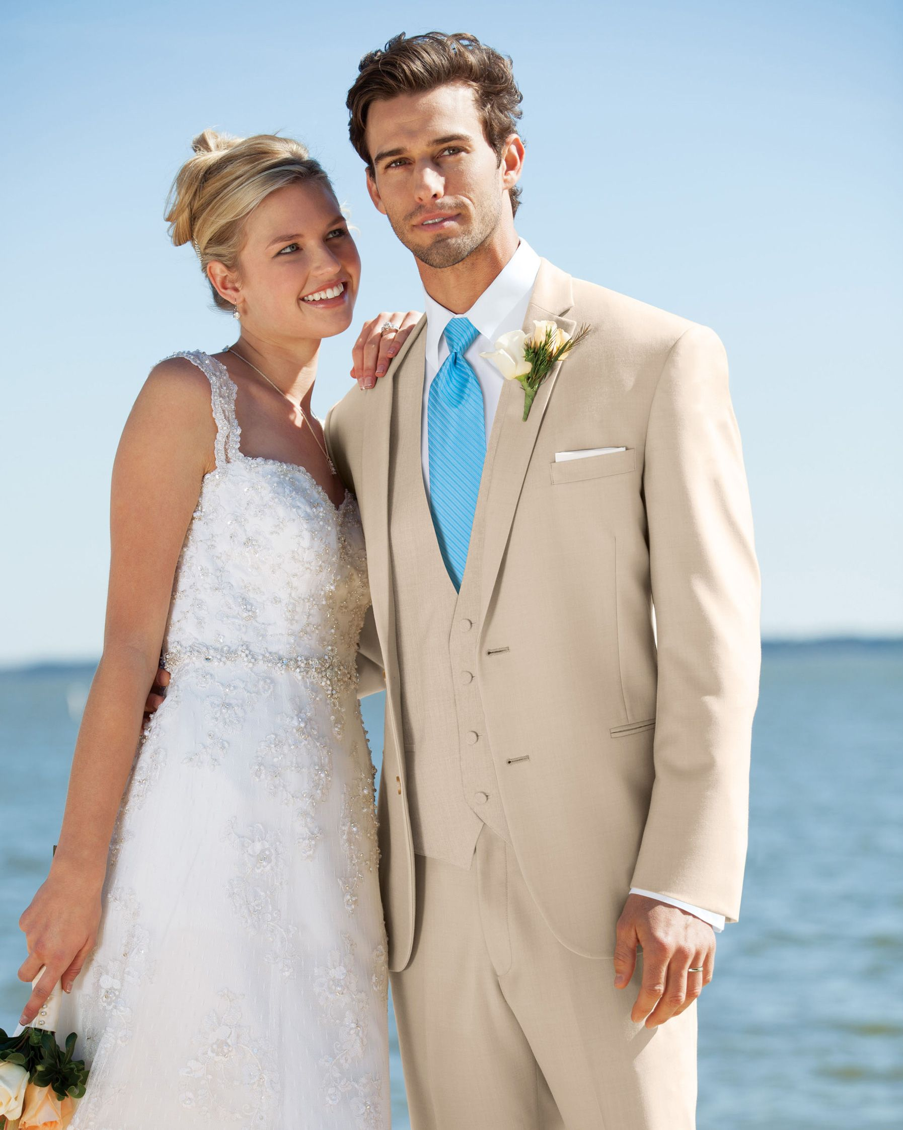 Tan Wedding Tuxedo Khaki Bowtie Turquoise Prom Love Suit Plaid Destination
