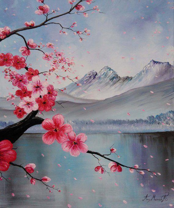 Japanese Sakura Beautiful Abstract Art Original Oil Painting Spring Landscape Red Cherry Blosso Sakura Painting Cherry Blossom Painting Beautiful Abstract Art