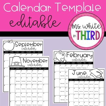 Monthly Calendar Template (Editable) | Monthly Calendar Template