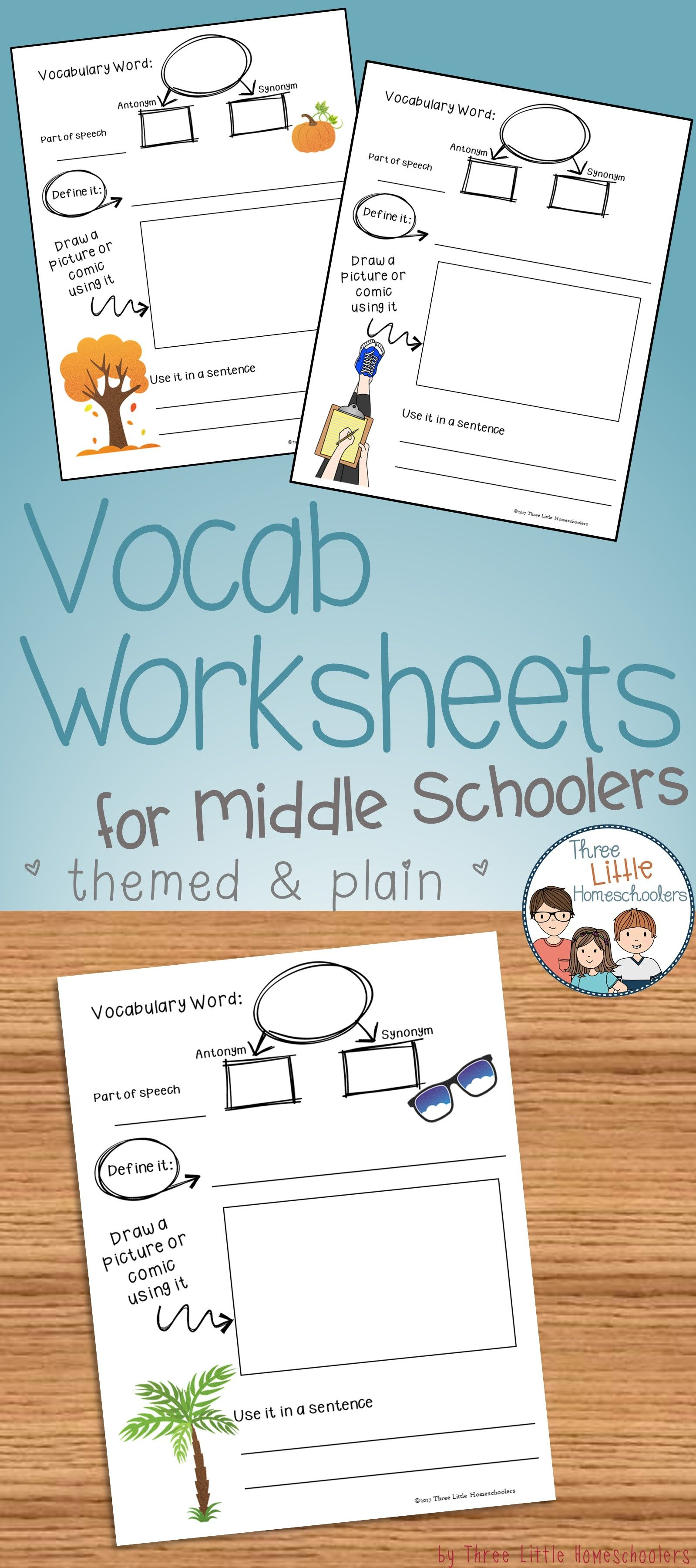 Middle School Vocabulary Worksheet With Plain And Themed