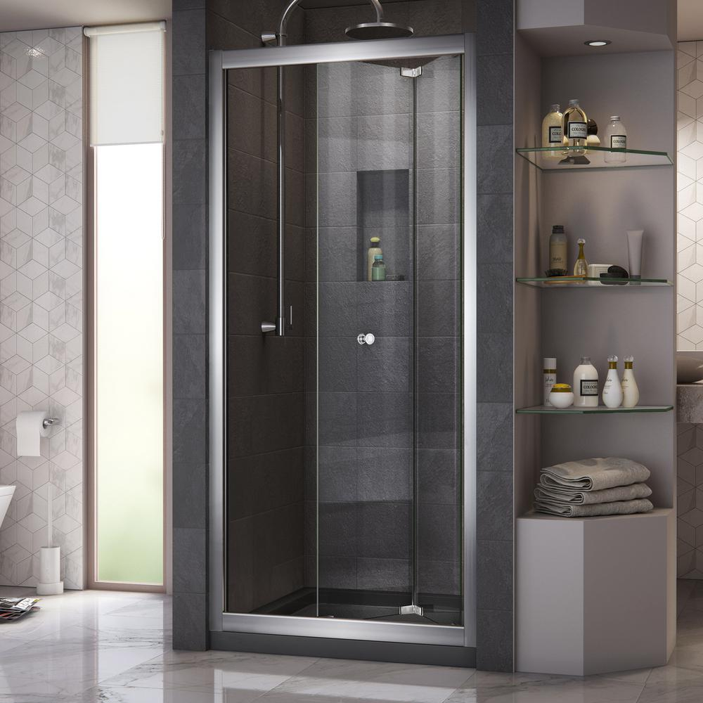 Dreamline Butterfly 30 To 31 1 2 In X 72 In Semi Frameless Bi Fold Shower Door In Chrome Shdr 4532726 01 Bifold Shower Door Shower Doors Frameless Shower Doors