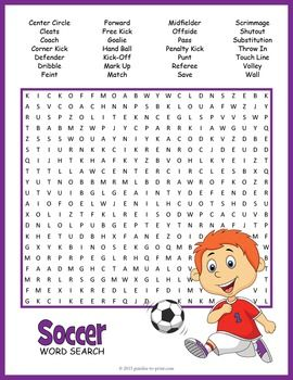 A Word Search Puzzle Worksheet Featuring 28 Vocabulary Words From The Game Of Soccer Use This As A Special T School Age Activities Printables Free Kids Soccer