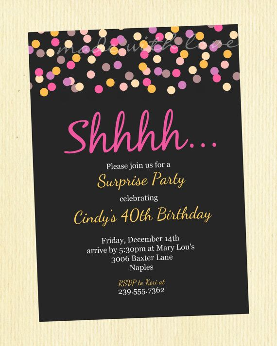 Confetti A Party Invitation Personalized And Printable 5x7