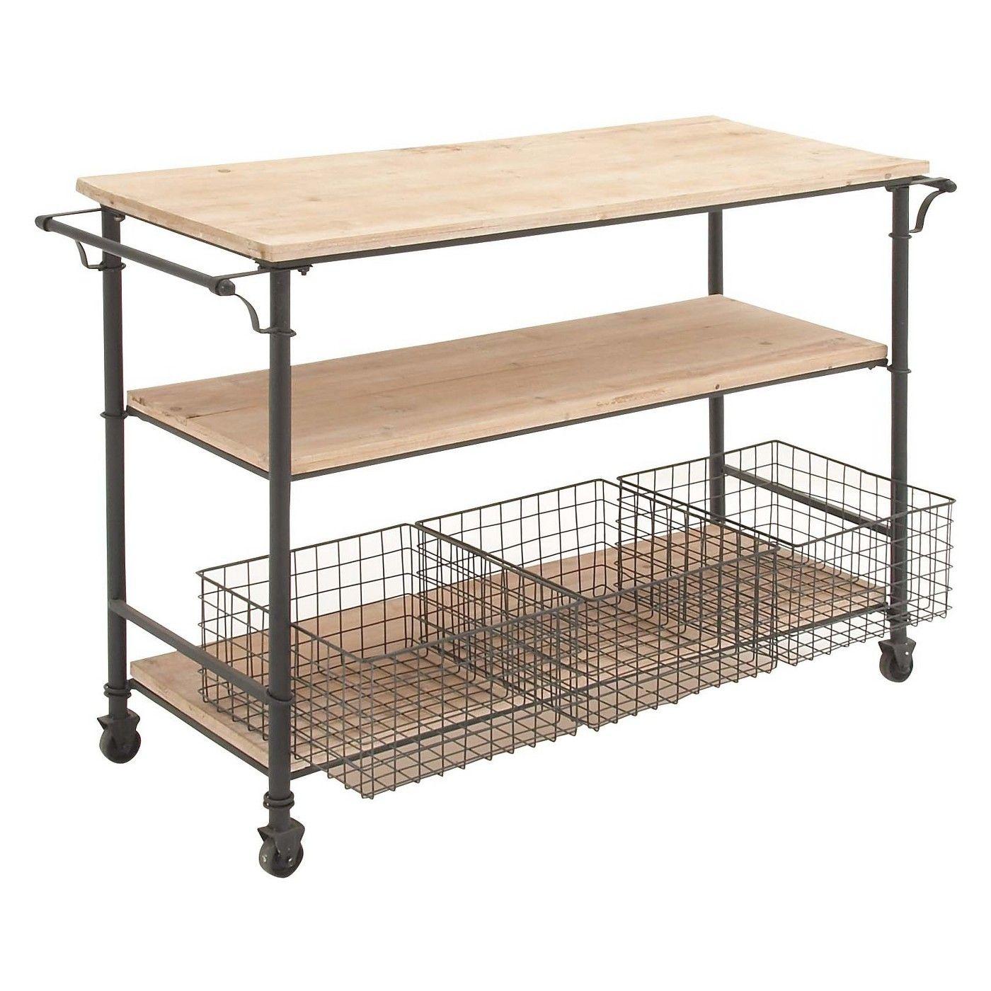 Metal and wood rolling utility cart brown olivia u may in