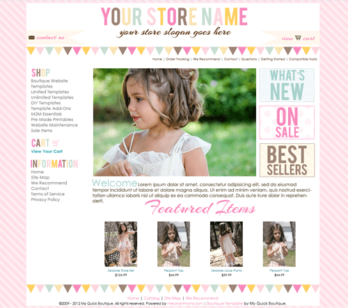boutique website template in buttercream marketing product