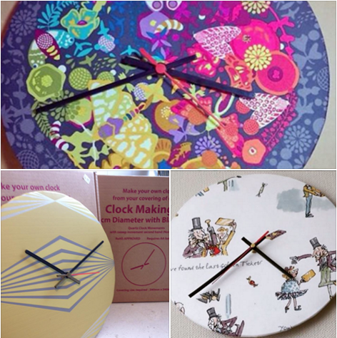 make your own clock kit apply your choice of fabric wallpaper digital print etc