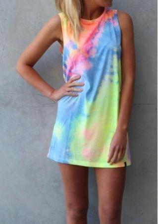 c5bcd67959de Rainbow Printed Women Mini Dress Straight Tie Dye O-Neck Sleeveless Summer  Casual Female Dress Natural Waist Loose Chic Vestidos