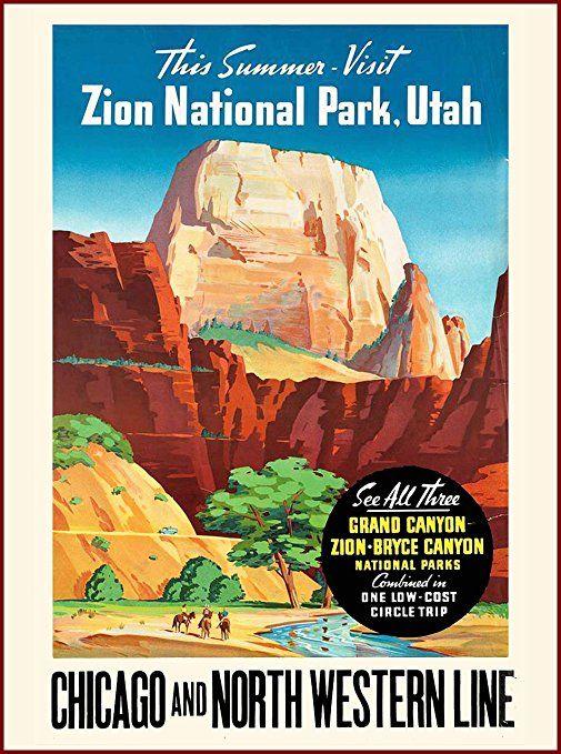 1930s Zion National Park Utah Vintage Railroad Travel Advertisement Poster Affiliate