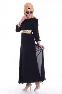 Sefamerve Islemeli Sifon Abiye 2398 04 Siyah Moda Stilleri Giyim The Dress