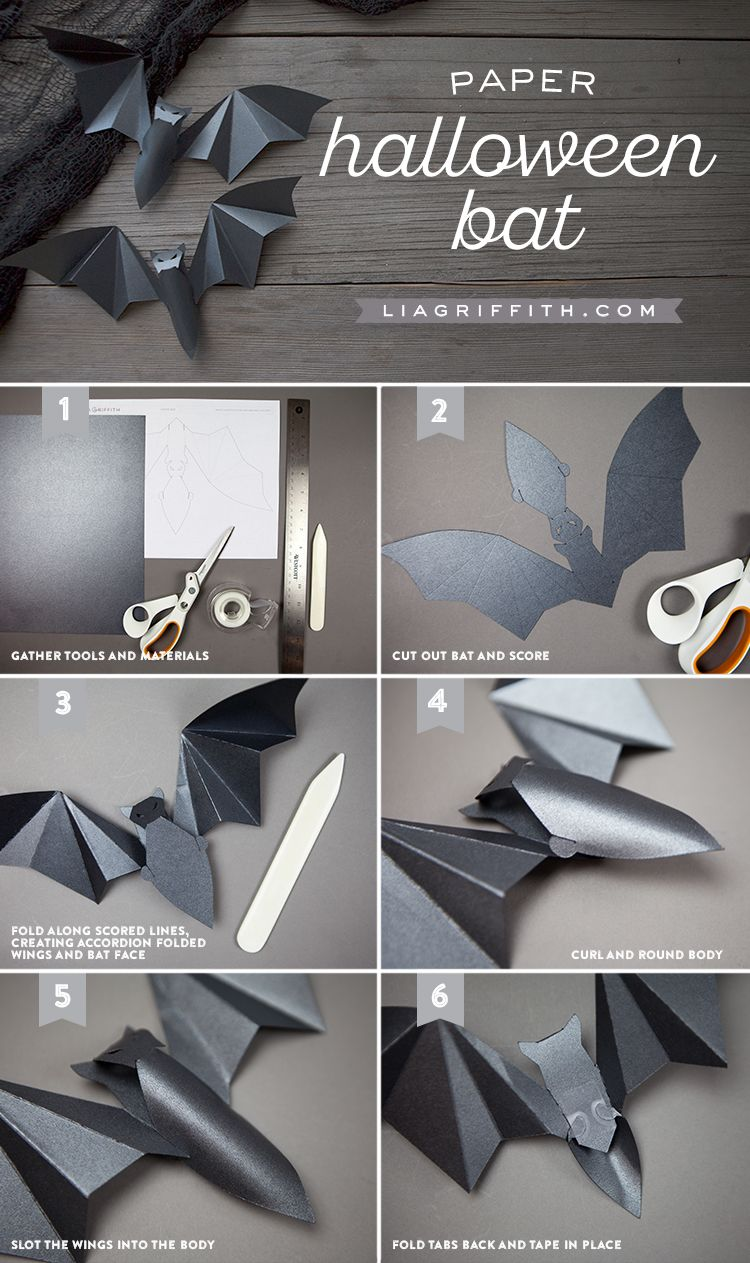 3d Paper Halloween Bats Craft Diy Photo Tutorials Halloween