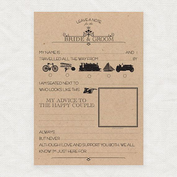 Leave A Note For The Bride And Groom  Printable Template  Funny