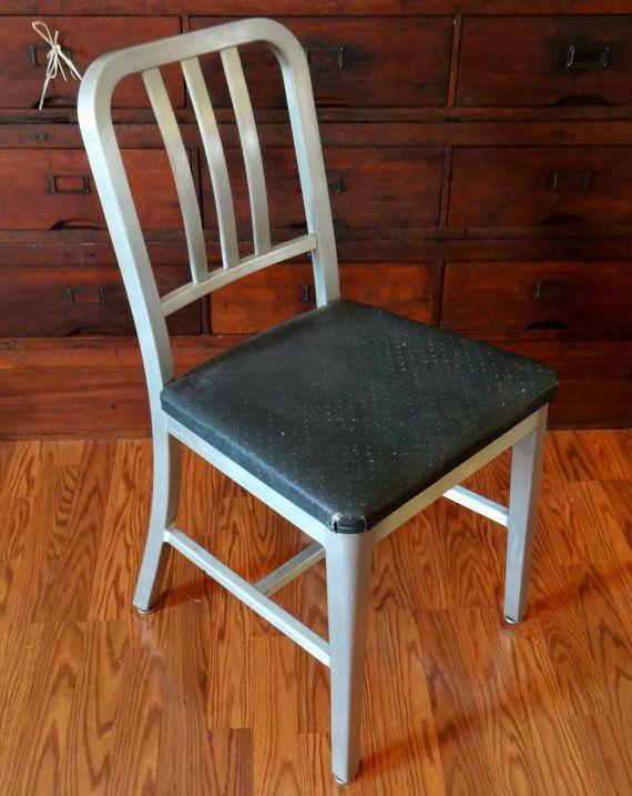 Vintage Goodform Chair Aluminum Navy Emeco Industrial Chair
