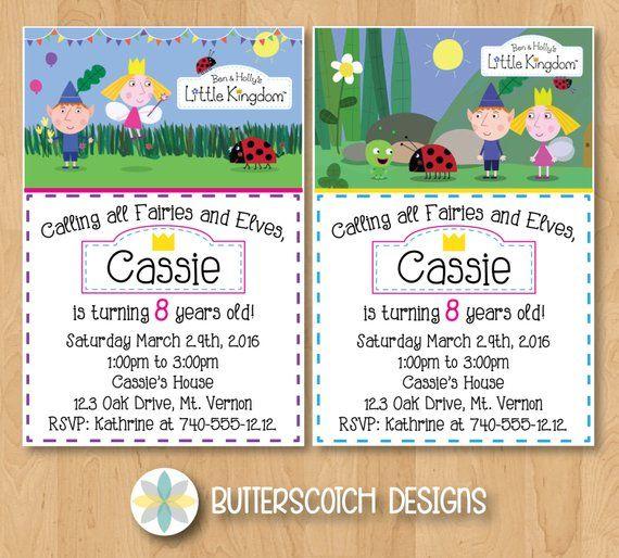 Ben Hollys Little Kingdom Birthday Invitation Pick From 2 Designs