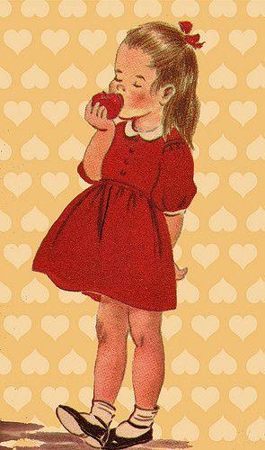 vintage little girl illustration -Head of a pin idea