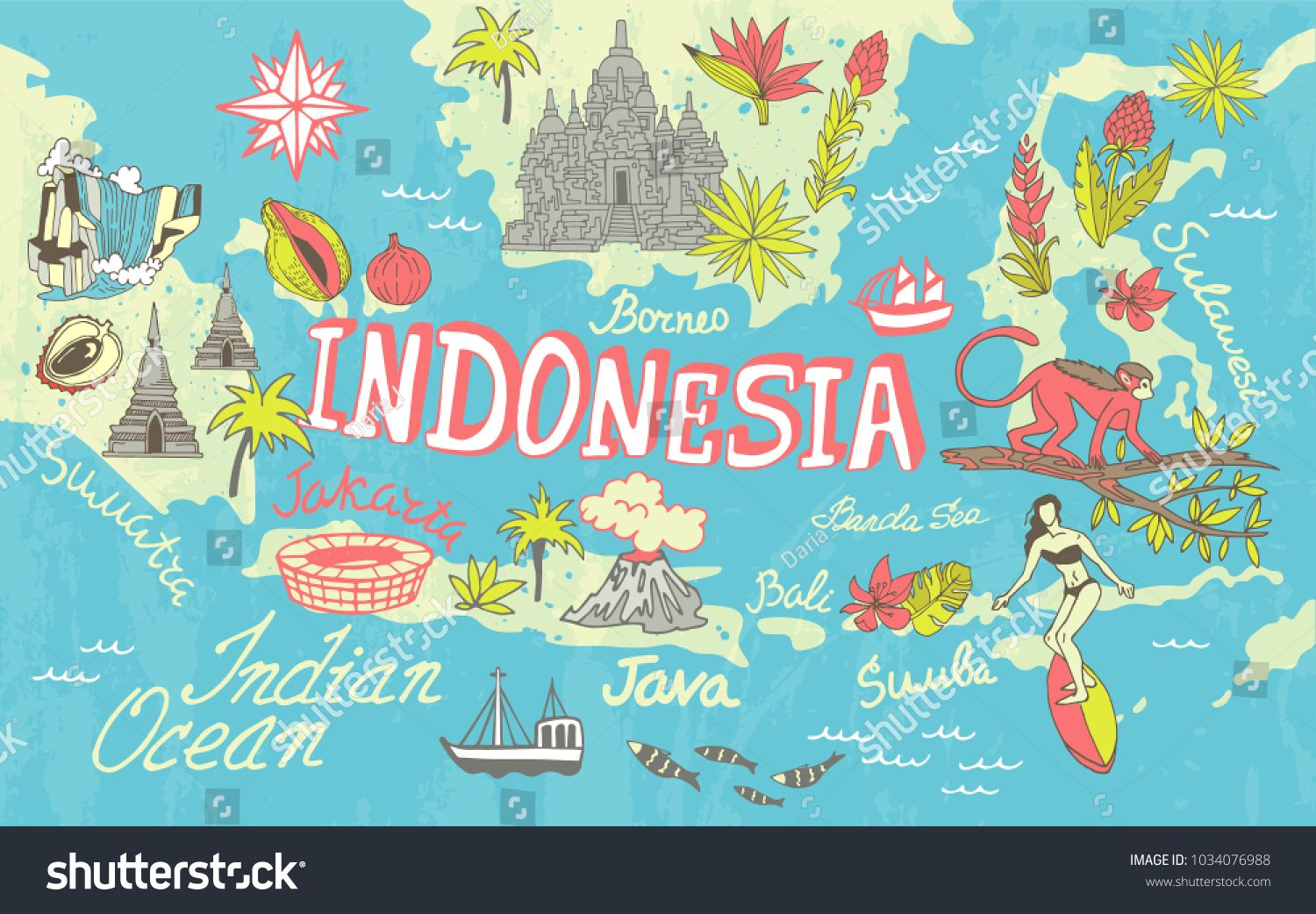 map illustration indonesia poster travel illustrated map map wallpaper travel illustration map wallpaper travel illustration