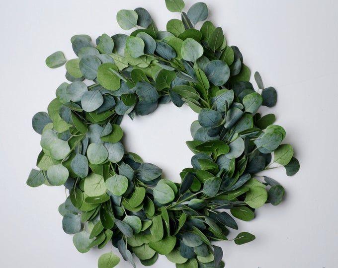 Photo of Eucalyptus wreath, peasant wreath, green wreath, front door wreath, artificial green wreath, artificial eucalyptus wreath, Christmas