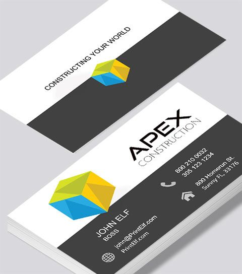 Modern Contemporary Business Card Design Apex Construction