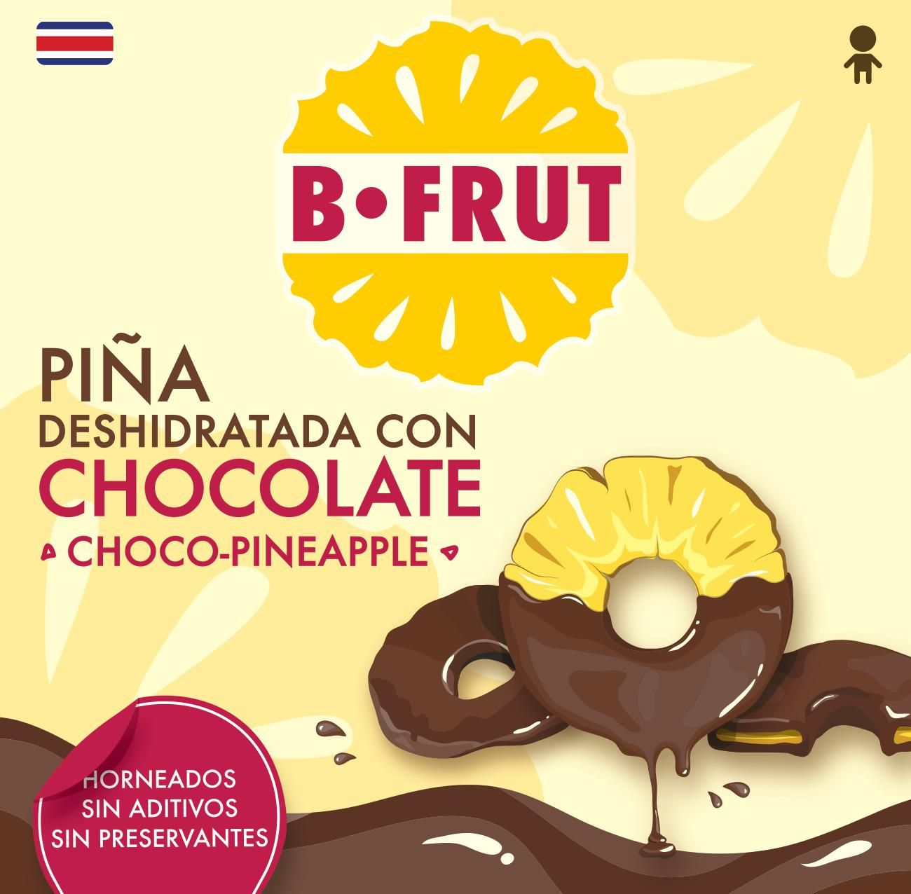 Rodajas de piña con chocolate... Frutas deshidratadas Costa Rica. www.befrut.com
