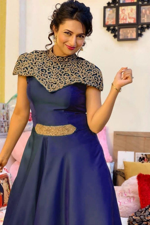 f00f1ba7959 Divyanka Tripathi in Blue Colored Beautiful Tafeta Silk Zari Worked ...