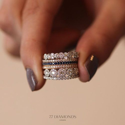 10 Stacked Wedding Rings Worth Obsessing Over Stacked Wedding Rings Alternative Engagement Rings Gorgeous Wedding Bands
