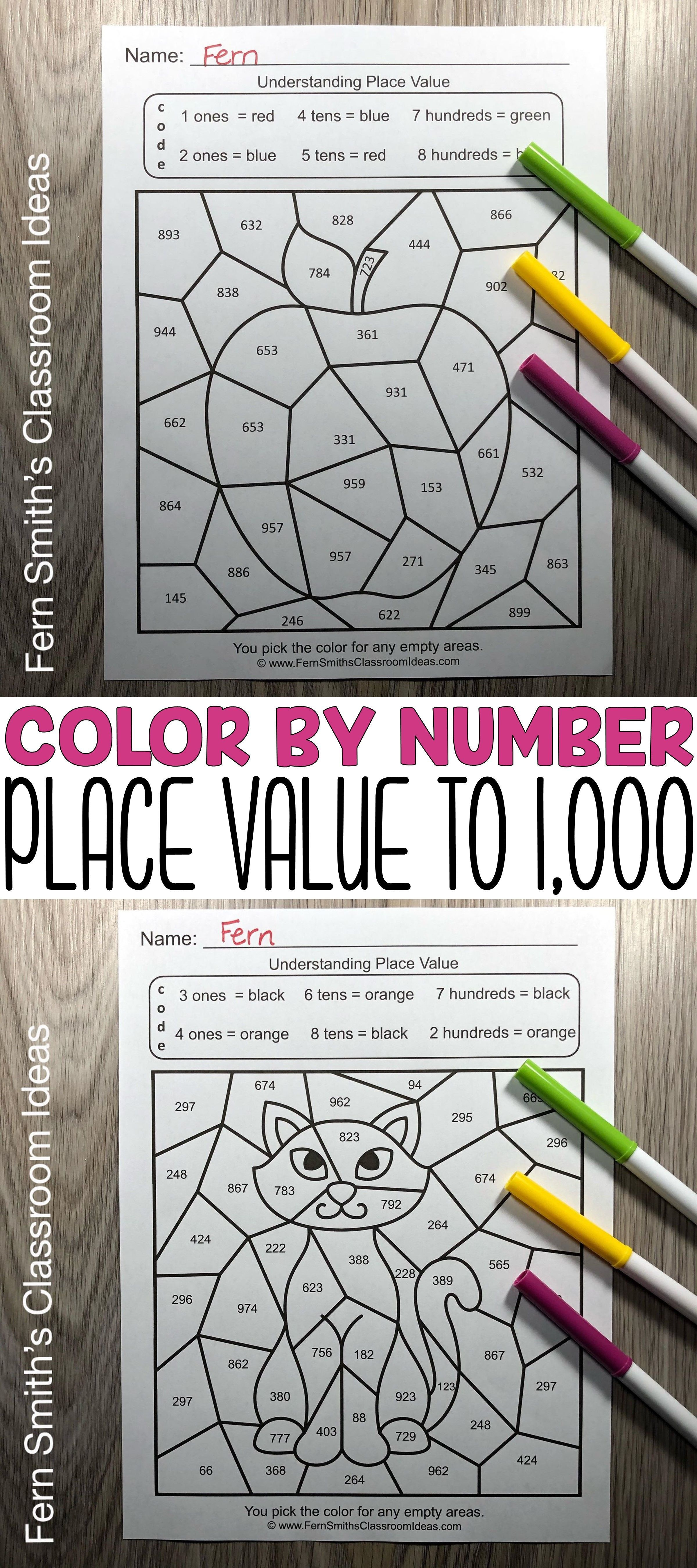 2nd Grade Go Math 2 5 Place Value To 1 000 Color By Number
