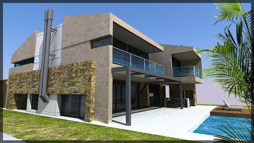 casa moderna con techos mixtos planos e inclinados
