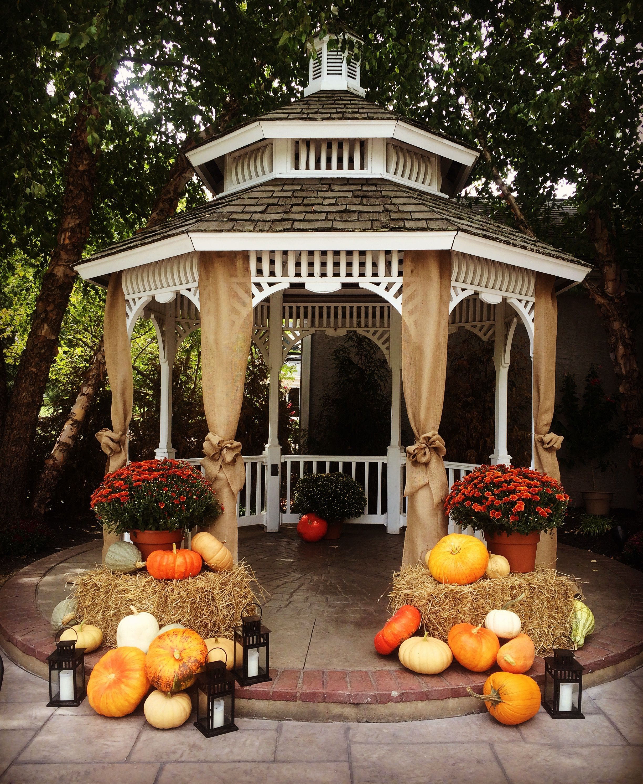 Fall Decor For A Outdoor Wedding Ceremony. Hay, Lanterns