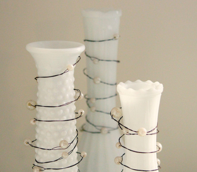 Rustic pearl wire garland, 24' long, Unique wedding decor, DIY, Beach wedding | eBay