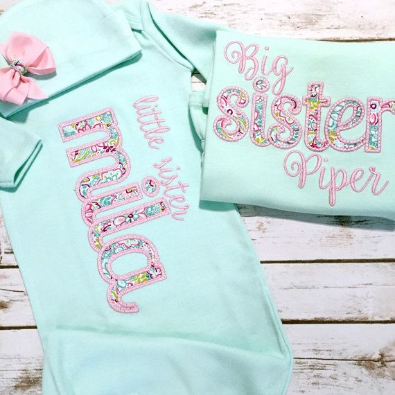 e55ba4f7fab5 Big Little Sister Sibling Shirt Gown Set PINK by sunfirecreative. Girl  Coming Home Outfit Baby Gown Bow Baby by sunfirecreative