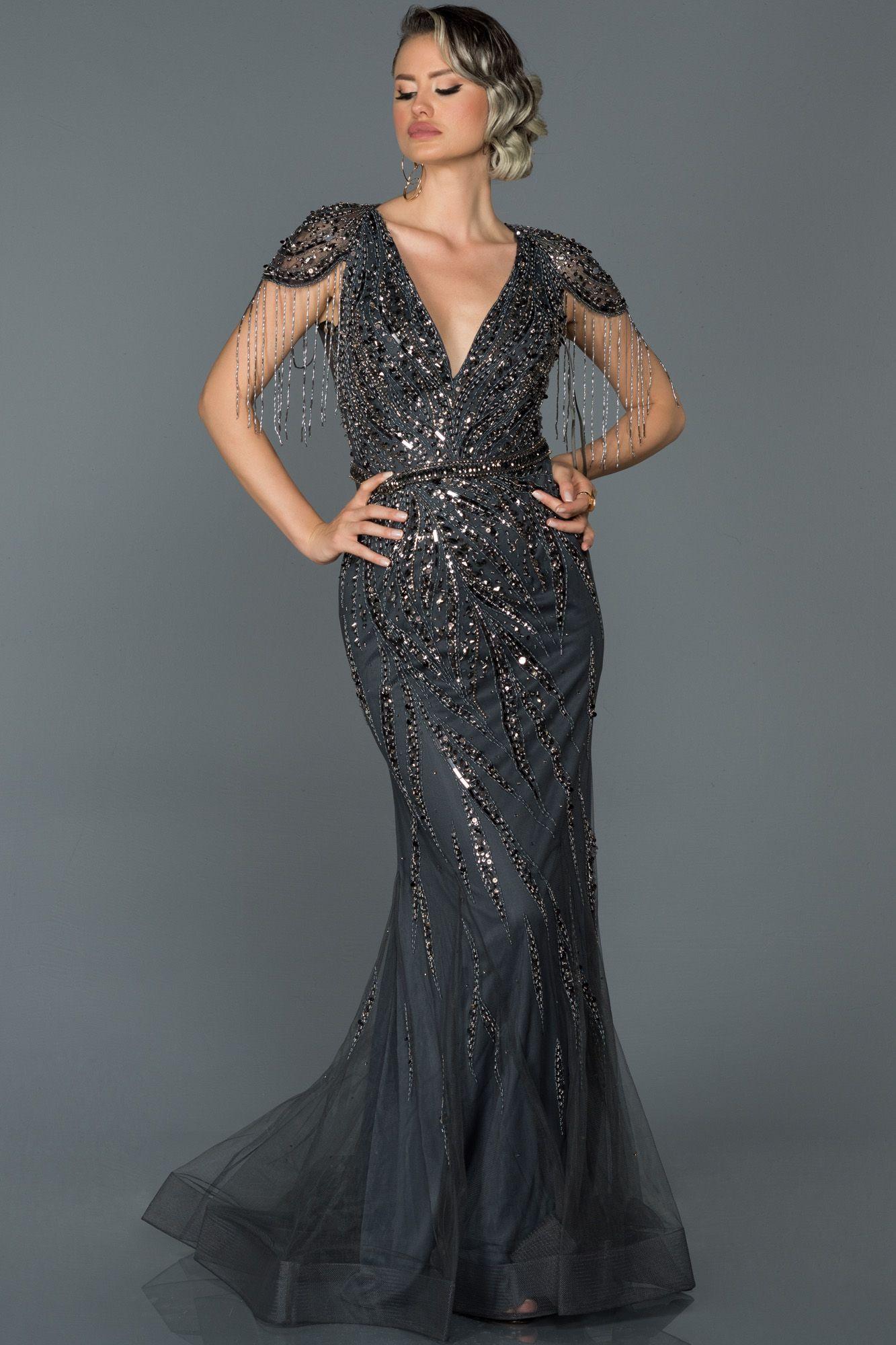 Antrasit Sik Tas Islemeli V Yaka Ozel Tasarim Abiye Abu156 2020 Elbise The Dress Elbise Modelleri