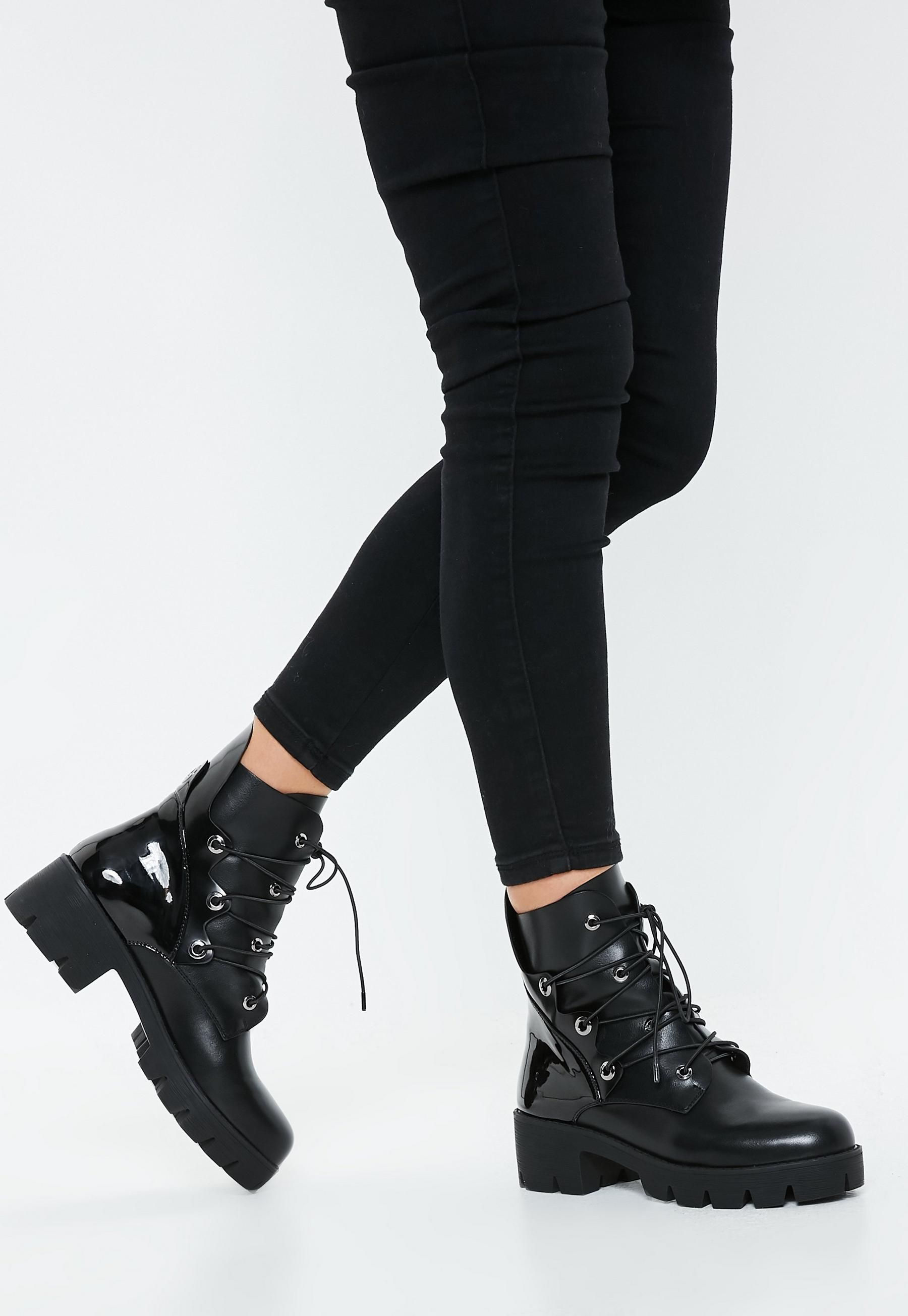Black Chunky Outsole Cross Over Lace