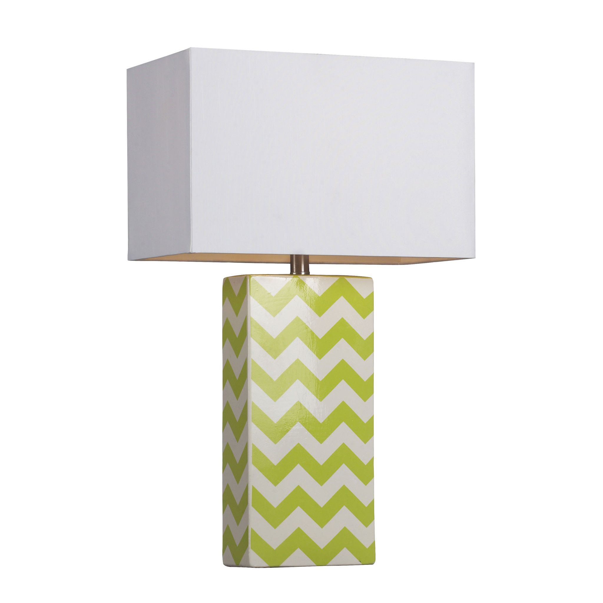 Chevron Print Ceramic Table Lamp In Green And White D278