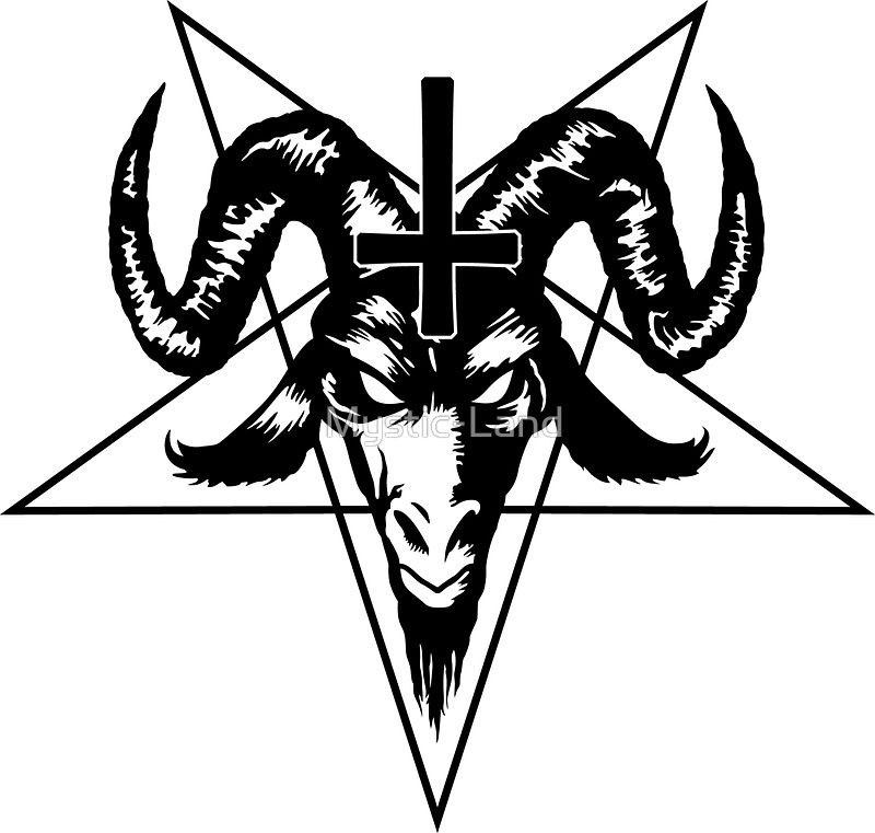 Satanic Goat Head With Pentagram Black Sticker By Mystic Land